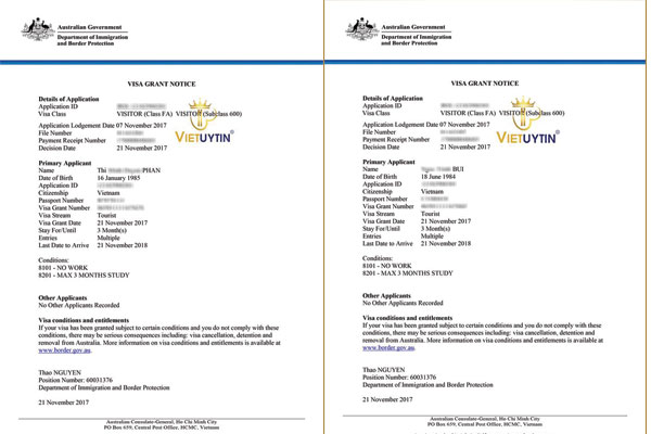 Visa Úc của 2 khách hàng Việt Uy Tín nhận được chỉ sau 13 ngày