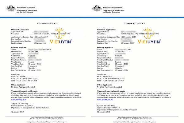 Visa du lịch Úc 3 năm của gia đình khách hàng Visa Việt Uy Tín
