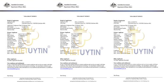 Visa du lịch Úc của gia đình anh Tuấn