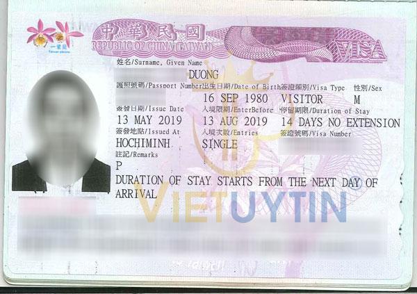Visa du lịch Đài Loan của anh Dương