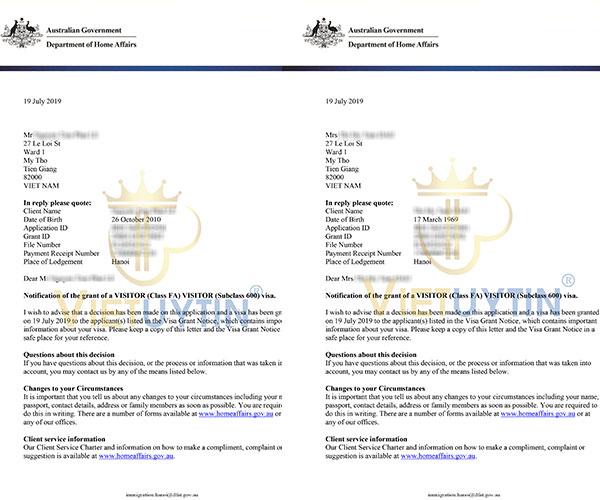 Visa du lịch Úc của cô Trà và cháu ngoại