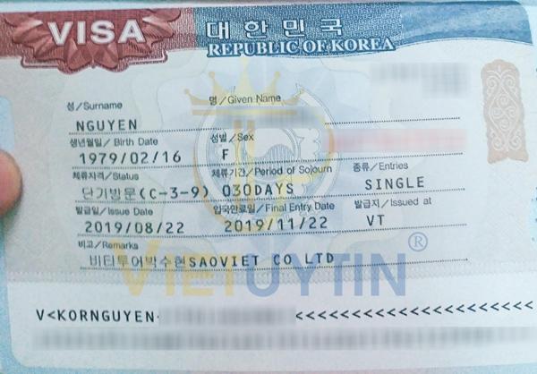 Visa du lịch Hàn Quốc của chị Hà