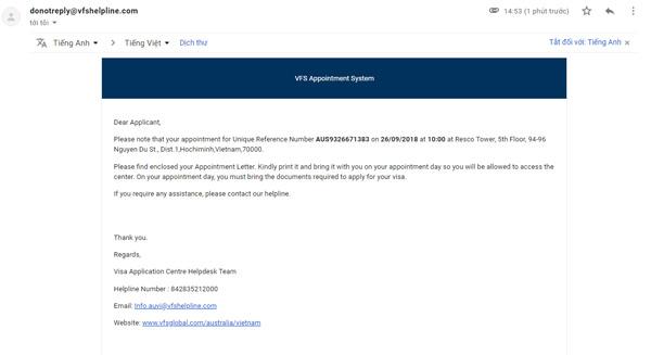 Xem email xác nhận
