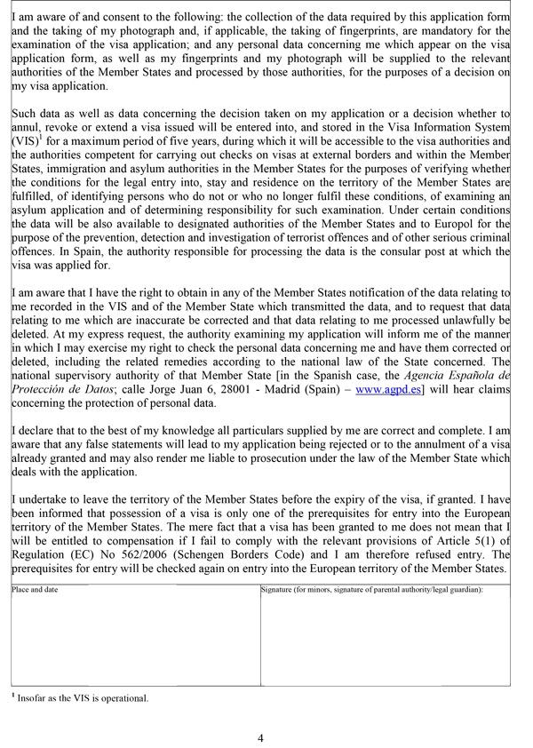 Đơn xin visa Tây Ban Nha - Trang 4