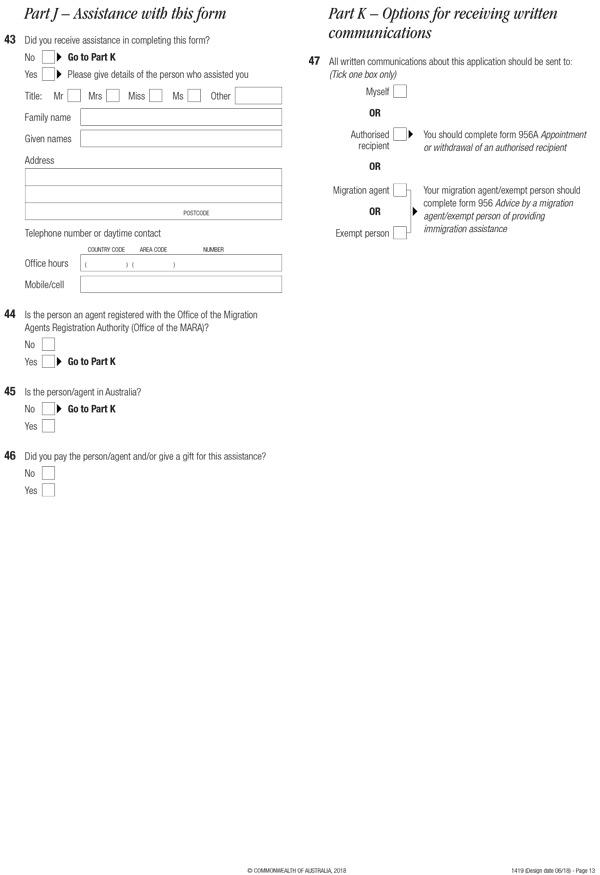 Đơn visa visa Úc - Form 1419, trang 13