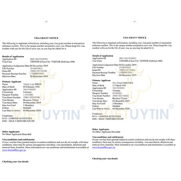Visa công tác Úc của Duy Khánh và Thành Luân