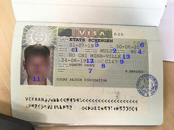Thông tin trên visa Schengen khá nhiều