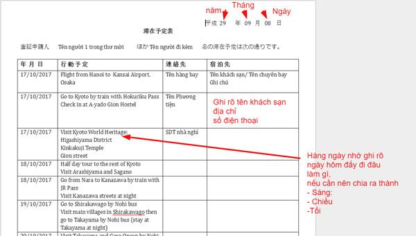 Lịch trình du lịch Nhật Bản phải sử dụng mẫu của cơ quan lãnh sự